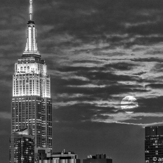 Moonrise over Manhattan, New York 6 (BW)