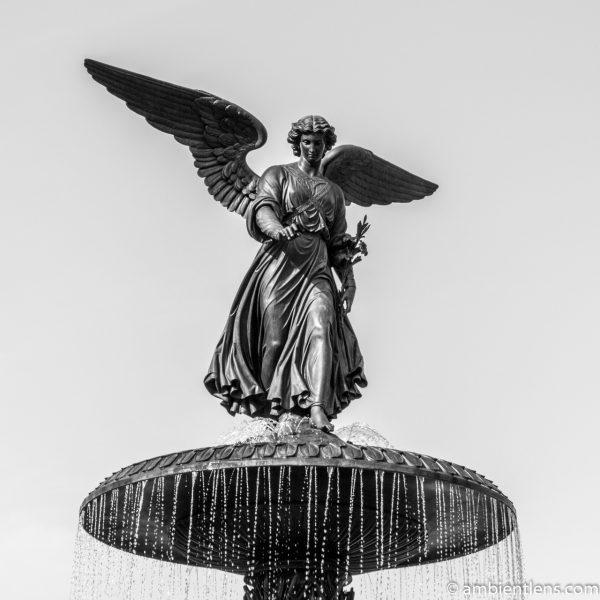 Bethesda Fountain Angel, Central Park, New York 1 (BW SQ)