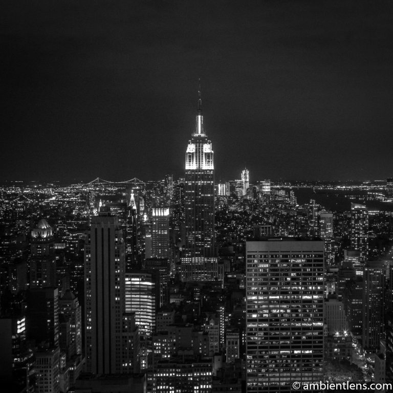 New York City Buildings at Night 1 (BW SQ)