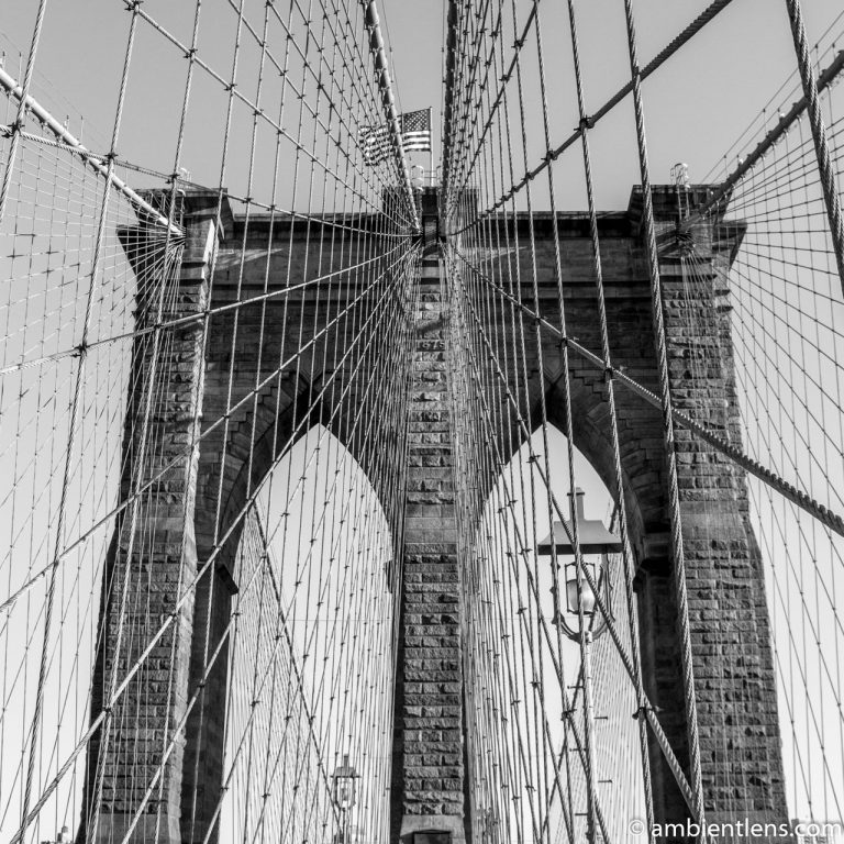 Brooklyn Bridge Tower in New York 2 (BW SQ)