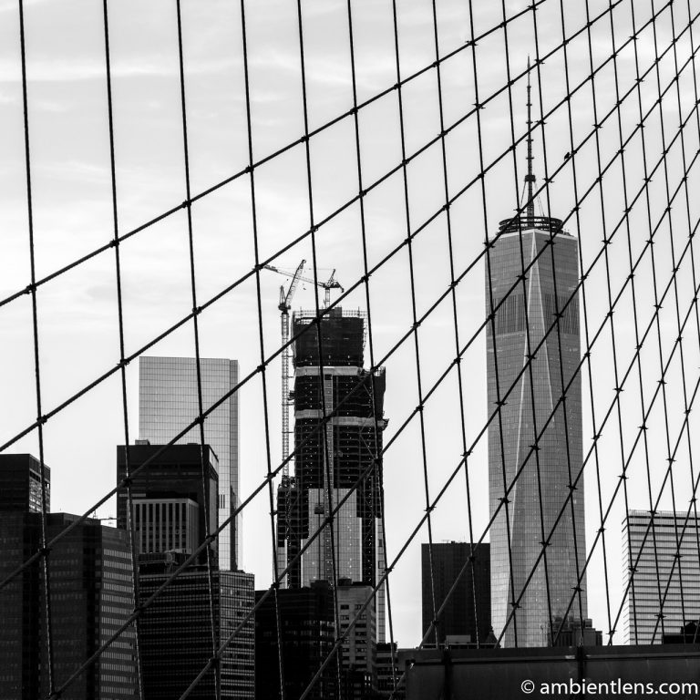View of Lower Manhattan from the Brooklyn Bridge 1 (BW SQ)