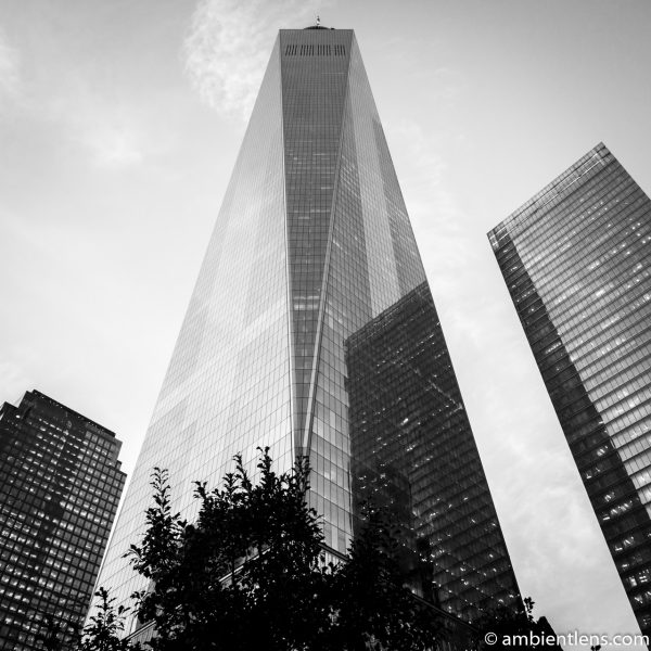 New York's Freedom Tower at Sunset 3 (BW SQ)