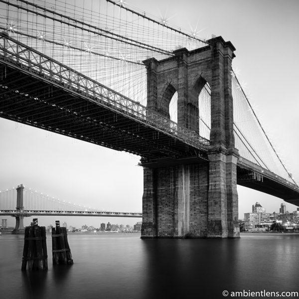 Brooklyn Bridge in Blue Light 1 (BW SQ)