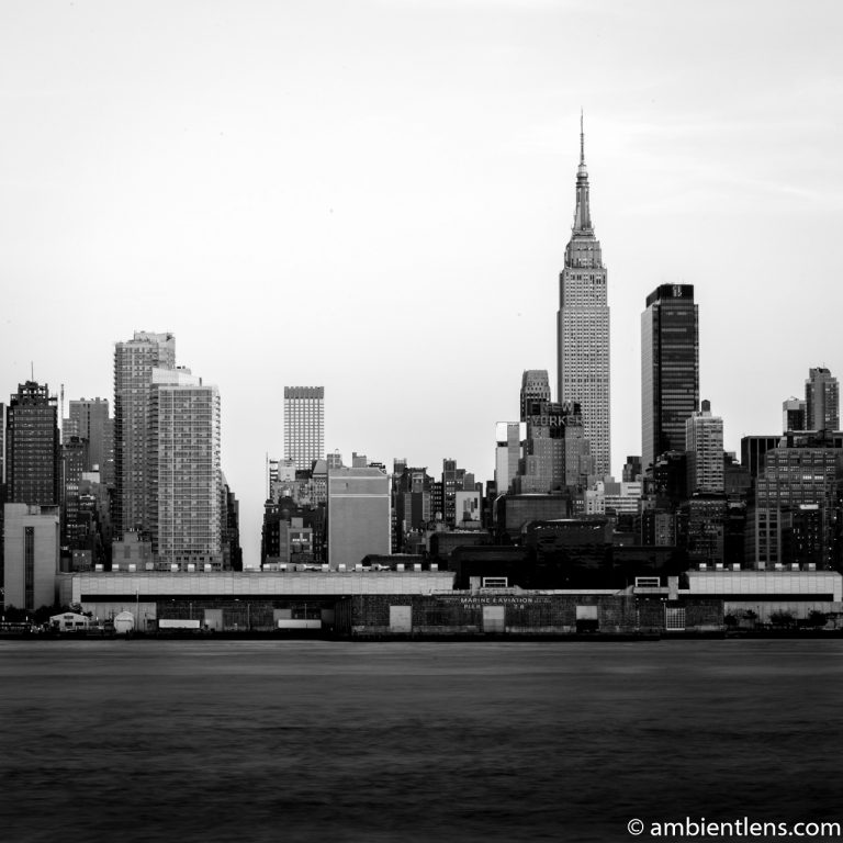 Midtown Manhattan and the Hudson River at Sunset 1 (BW SQ)