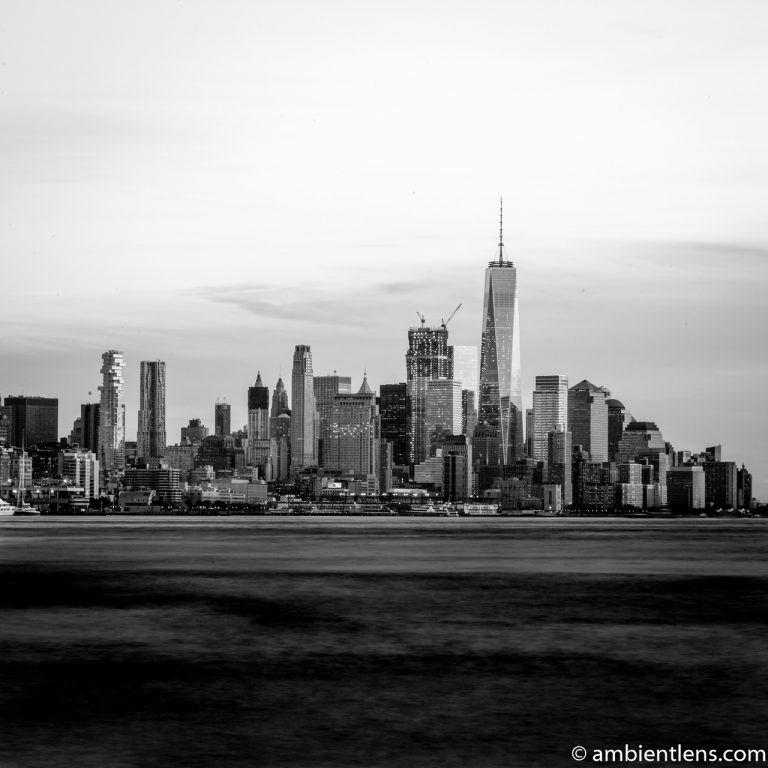 Lower Manhattan and the Hudson River at Sunset 1 (BW SQ)