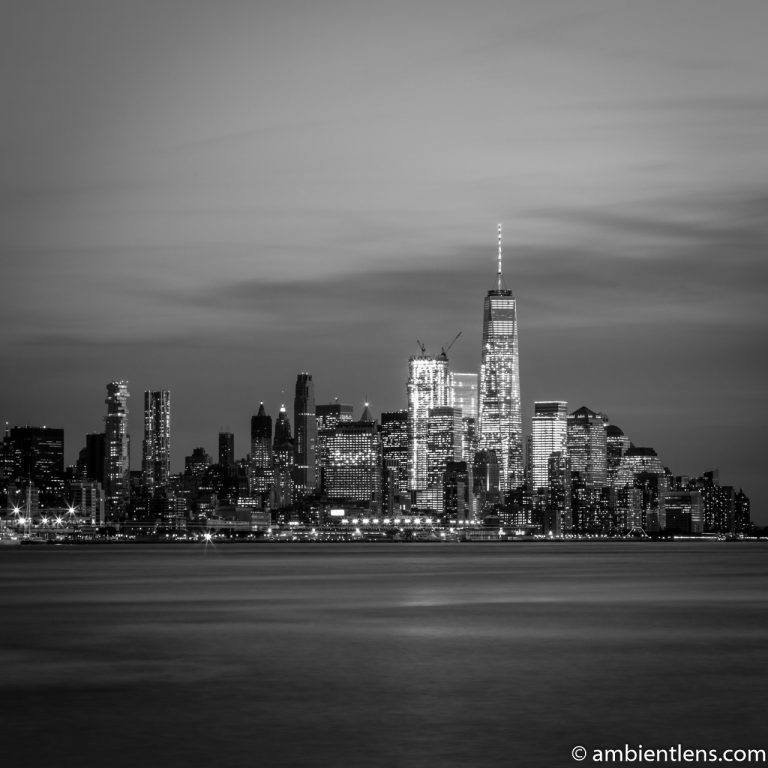 Lower Manhattan and the Hudson River at Sunset 2 (BW SQ)