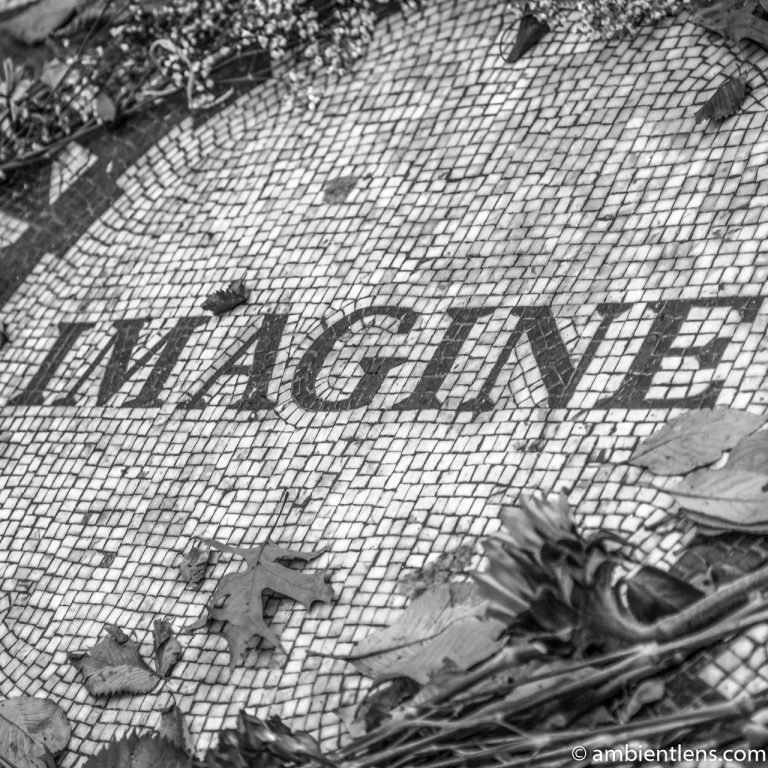 Strawberry Fields' Imagine, Central Park, New York (BW SQ)