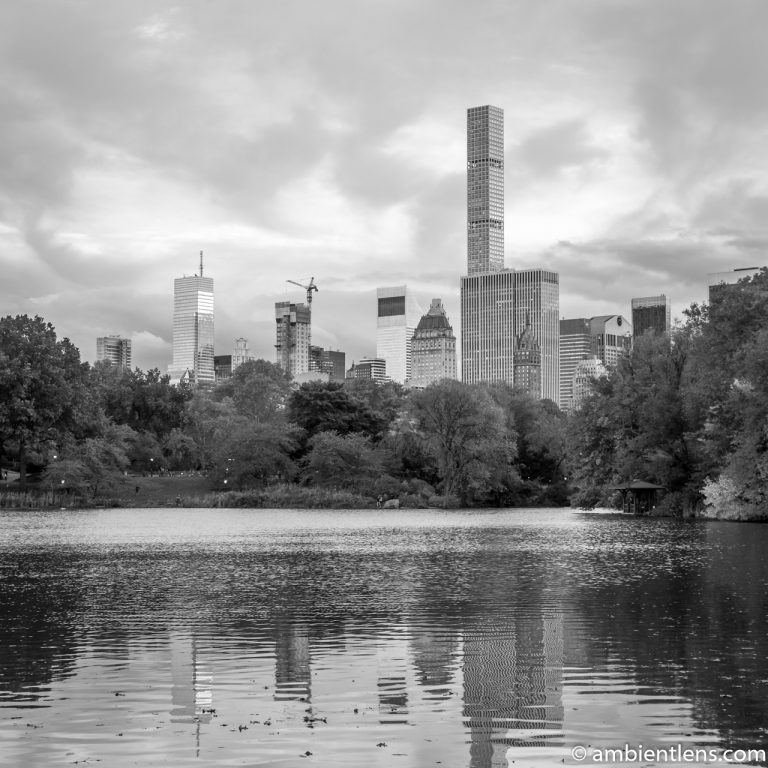 Reflection on The Lake at Central Park 1 (BW SQ)