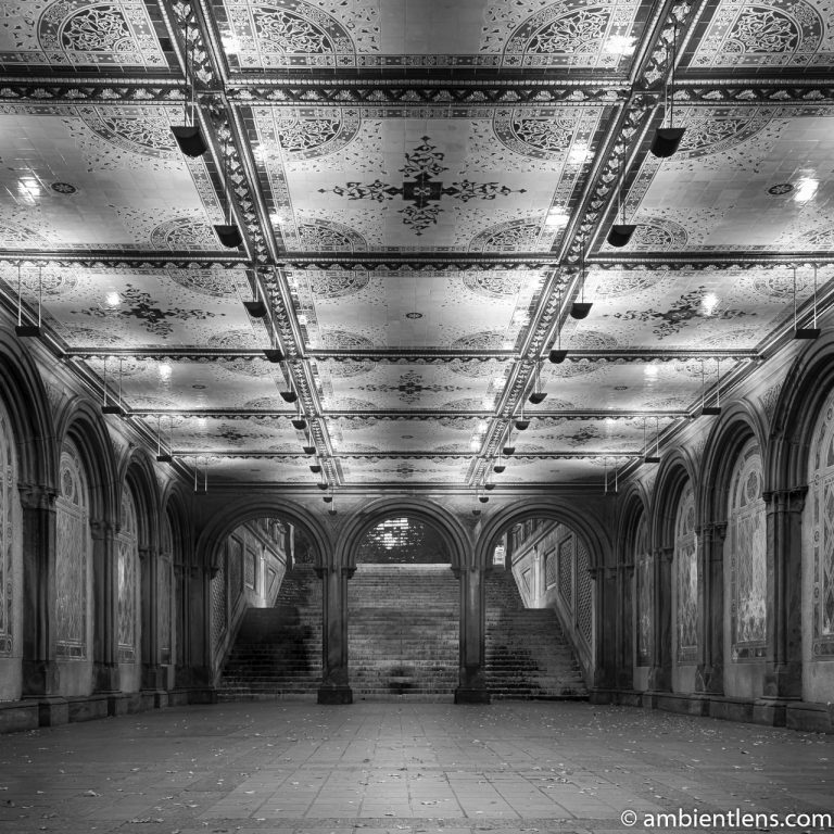 The Interior of Central Park's Bethesda Terrace 2 (BW SQ)