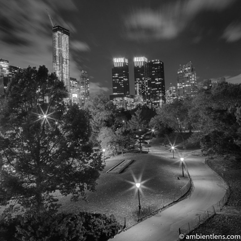 Central Park at Night 1 (BW SQ)