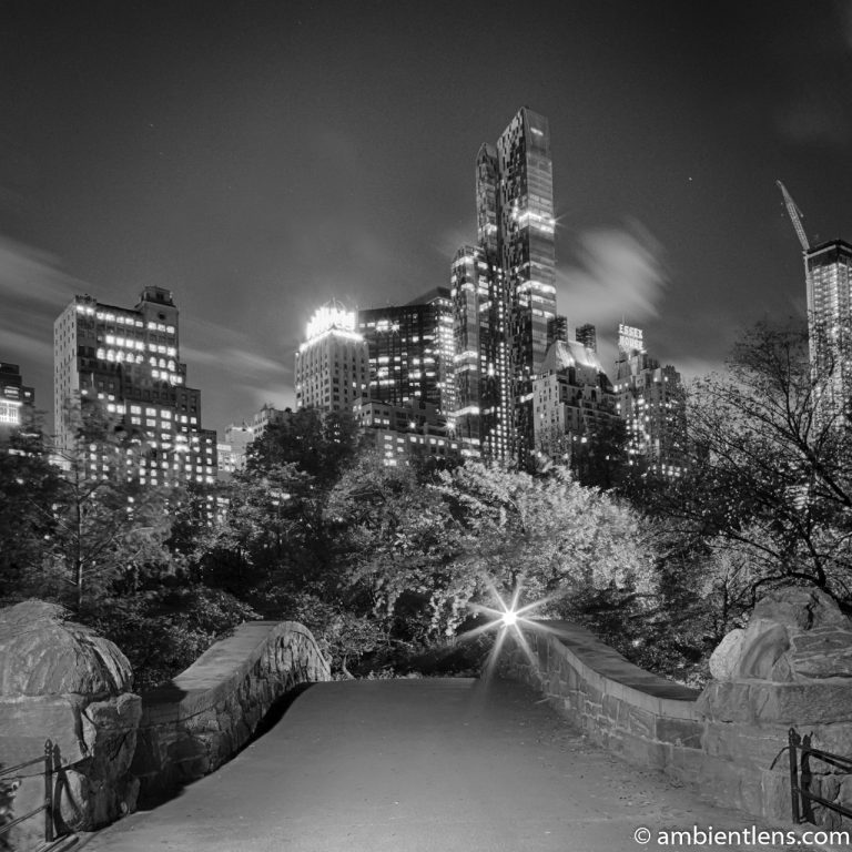 Central Park's Gapstow Bridge at Night 1 (BW SQ)