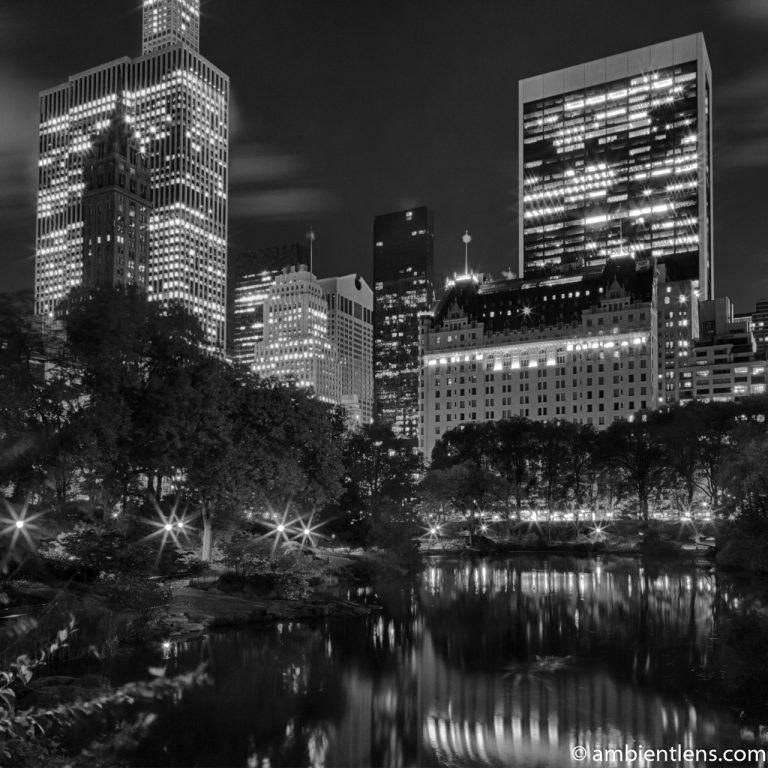 The Pond in Central Park at Night 1 (BW SQ)