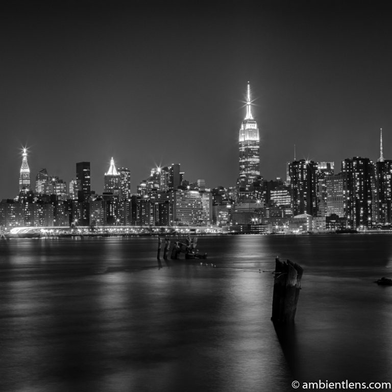 Midtown Manhattan and the East River at Night (BW SQ)