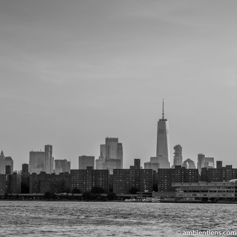 Lower Manhattan and the East River at Sunset 2 (BW SQ)