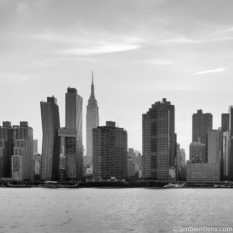 Midtown Manhattan and the East River at Sunset 7 (BW SQ)