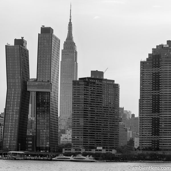 Midtown Manhattan and the East River at Sunset 8 (BW SQ)