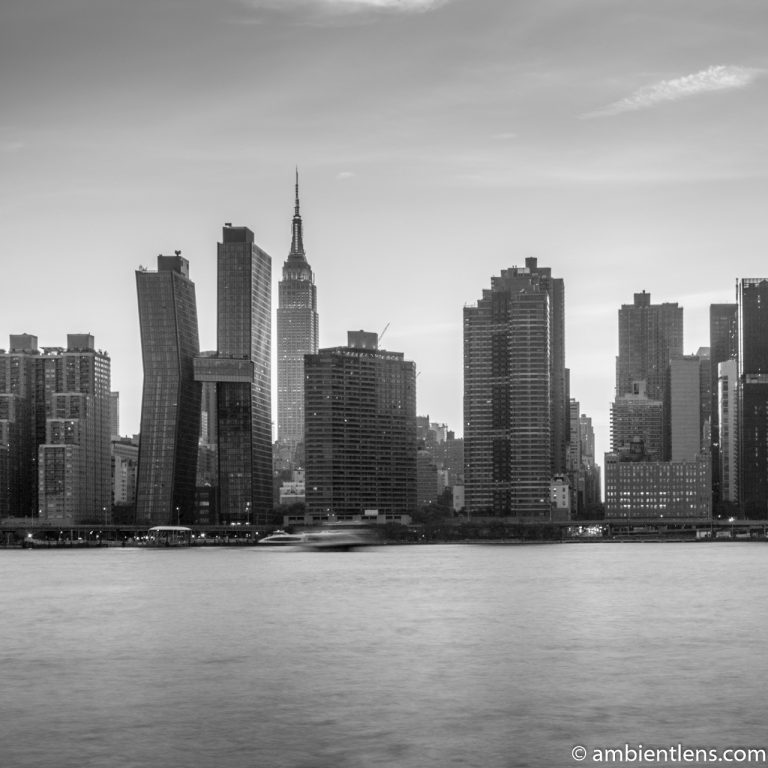 Midtown Manhattan and the East River at Sunset 4 (BW SQ)