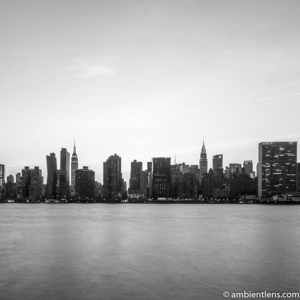 Midtown Manhattan and the East River at Sunset 5 (BW SQ)