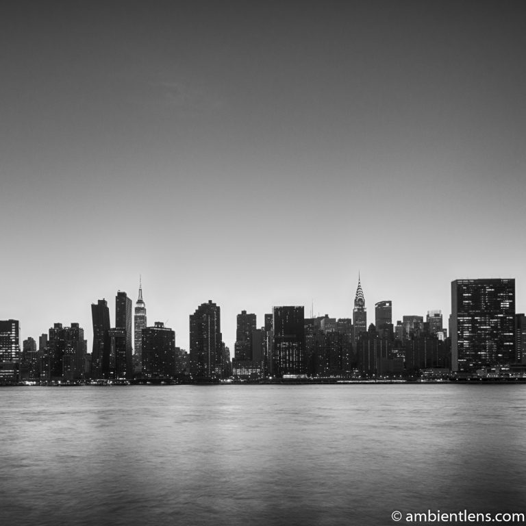 Midtown Manhattan and the East River at Sunset 9 (BW SQ)