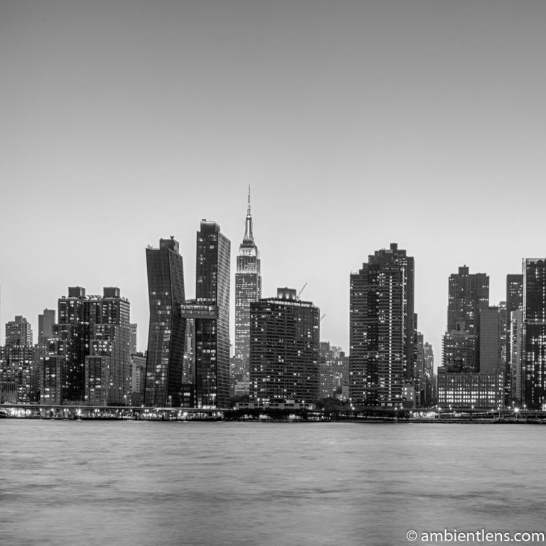 Midtown Manhattan and the East River at Sunset 10 (BW SQ)