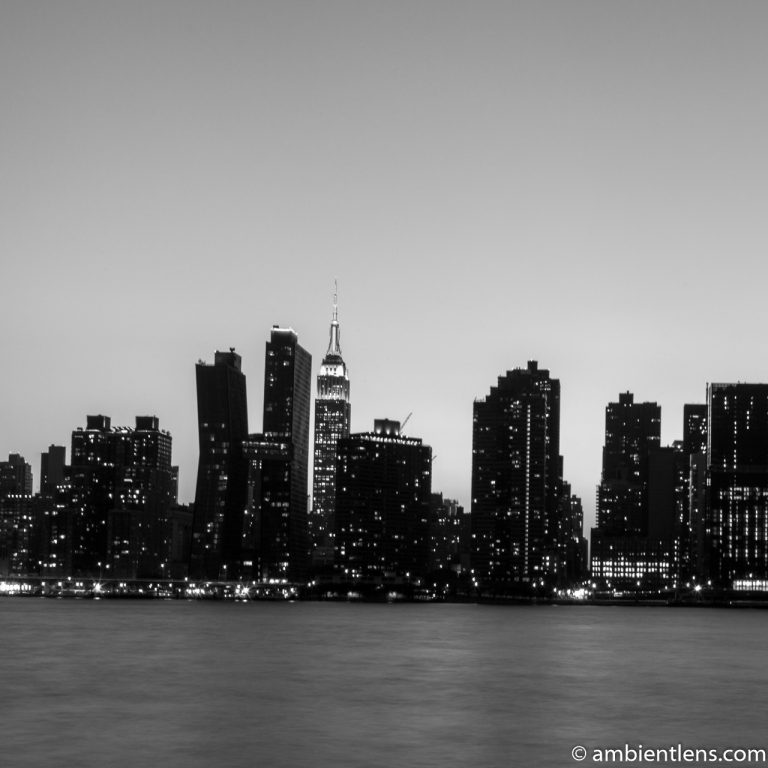 Midtown Manhattan and the East River at Sunset 6 (BW SQ)