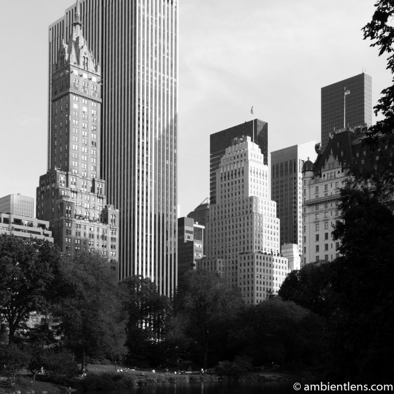 View of Buildings from South Central Park, New York 2 (BW SQ)