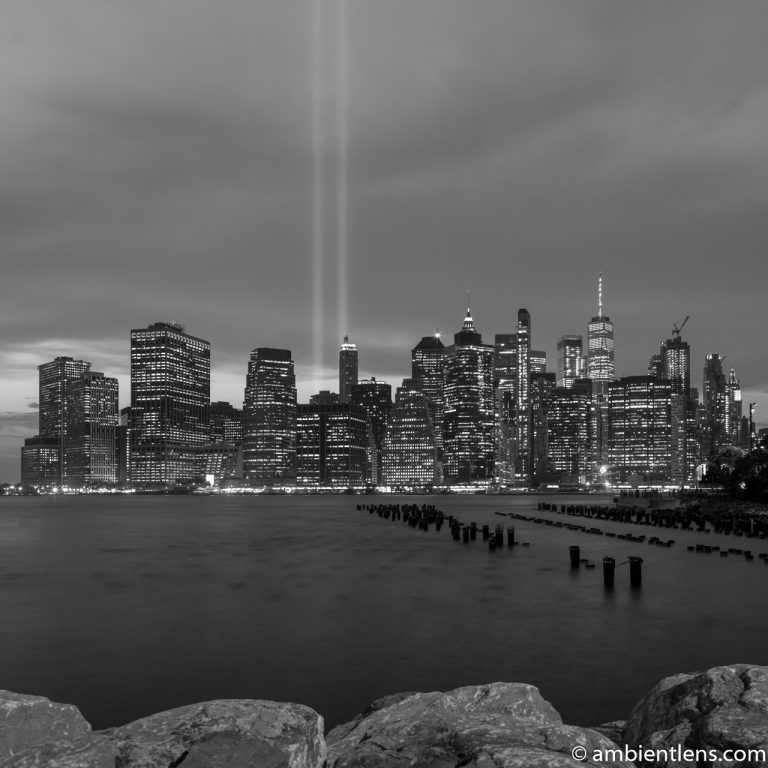 September 11 Twin Lights in Lower Manhattan, New York 4 (BW SQ)