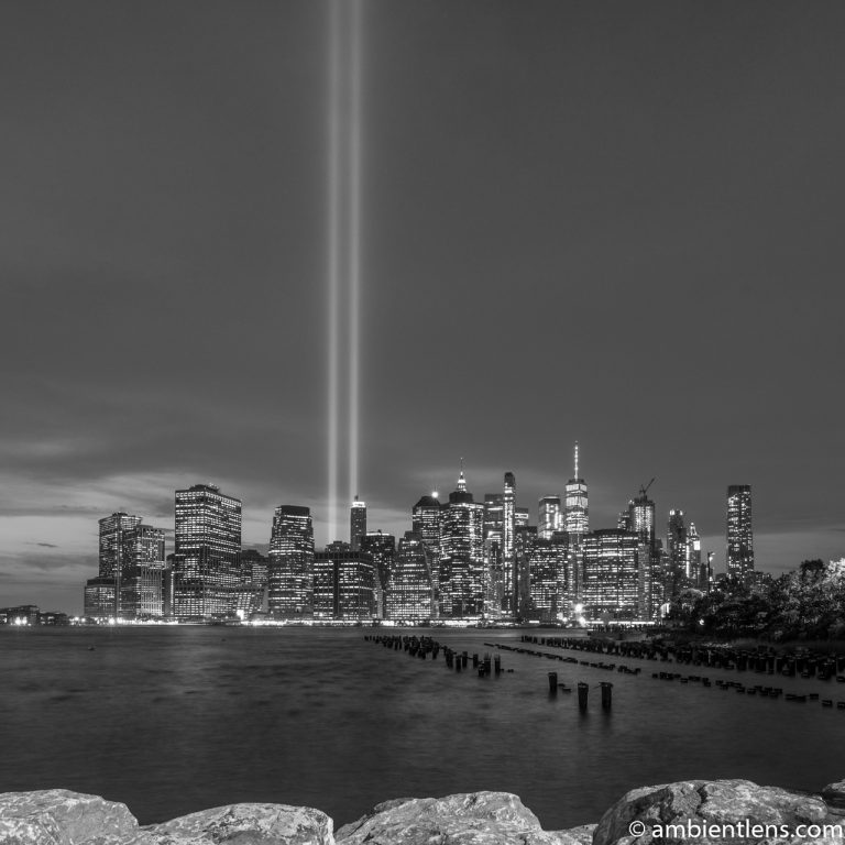 September 11 Twin Lights in Lower Manhattan, New York 2 (BW SQ)