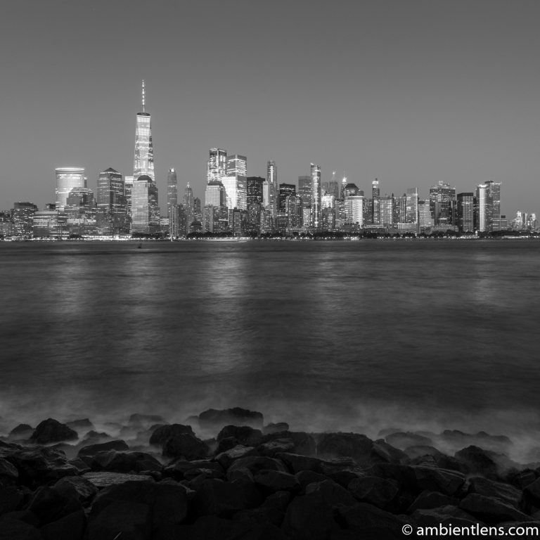 Lower Manhattan and the Hudson River at Night 8 (BW SQ)