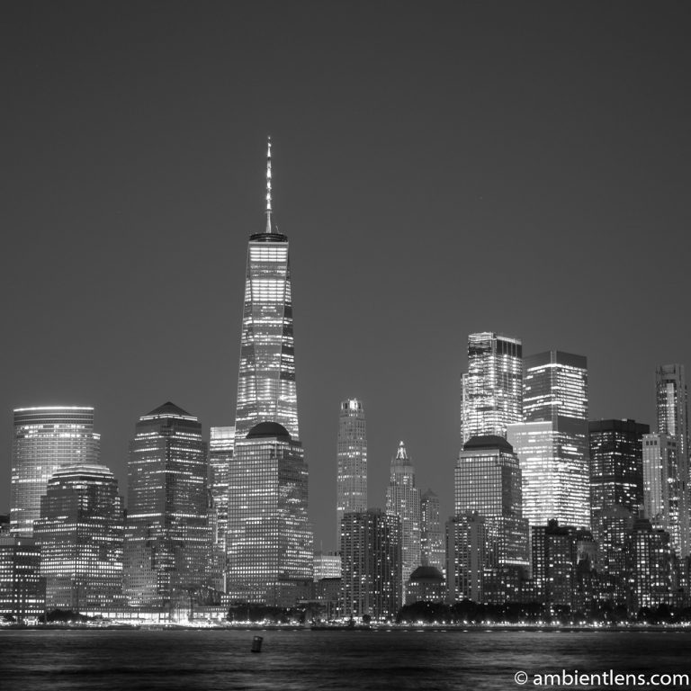 Lower Manhattan and the Hudson River at Night 7 (BW SQ)