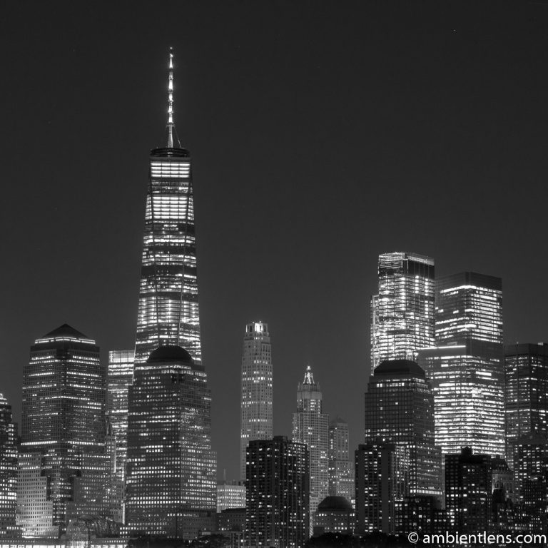 Lower Manhattan and the Hudson River at Night 6 (BW SQ)