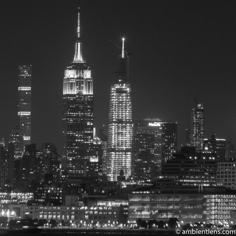 Midtown Manhattan and the Hudson River at Night 5 (BW SQ)