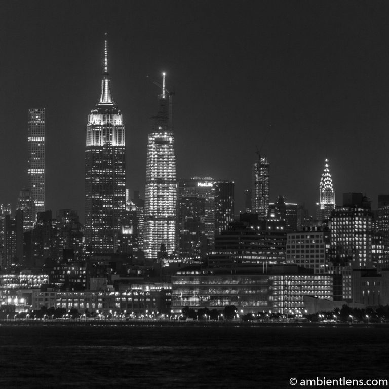 Midtown Manhattan and the Hudson River at Night 4 (BW SQ)