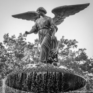 Bethesda Fountain Angel, Central Park, New York 2 (BW SQ)
