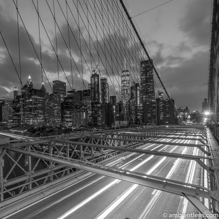 Cars on the Brooklyn Bridge at Night 3 (BW SQ)