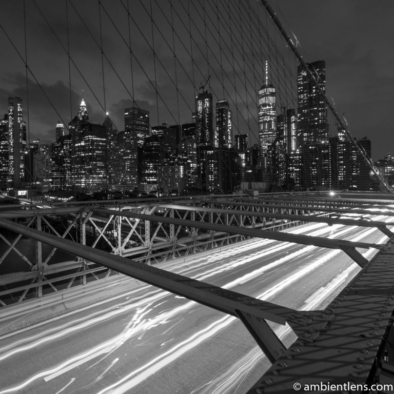 Cars on the Brooklyn Bridge at Night 2 (BW SQ)