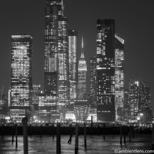 Midtown Manhattan and the Hudson River at Night 2 (BW SQ)