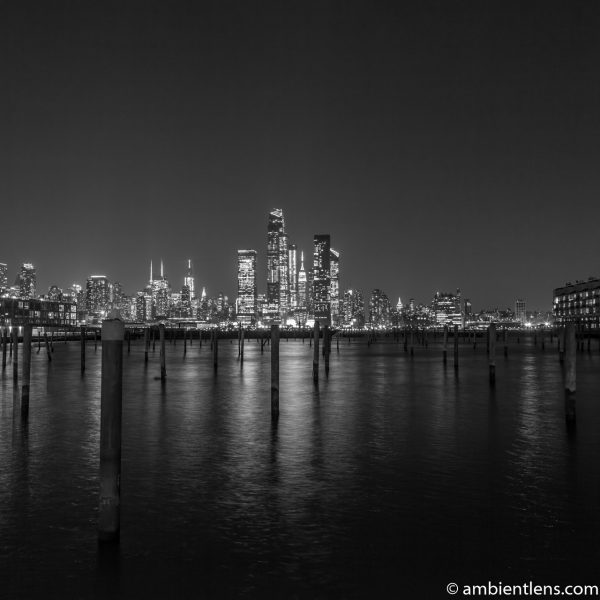 Midtown Manhattan and the Hudson River at Night 1 (BW SQ)