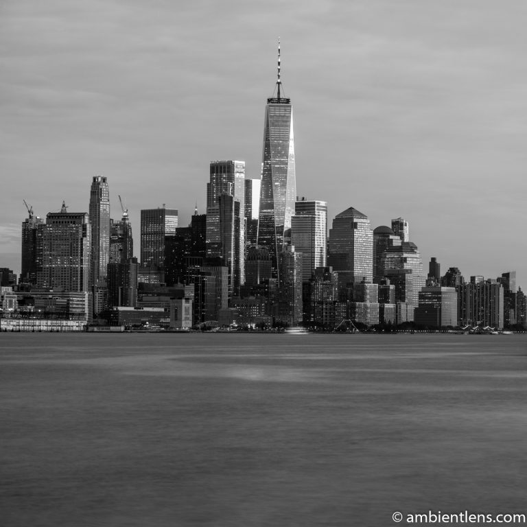 Lower Manhattan and the Hudson River at Sunset 3 (BW SQ)