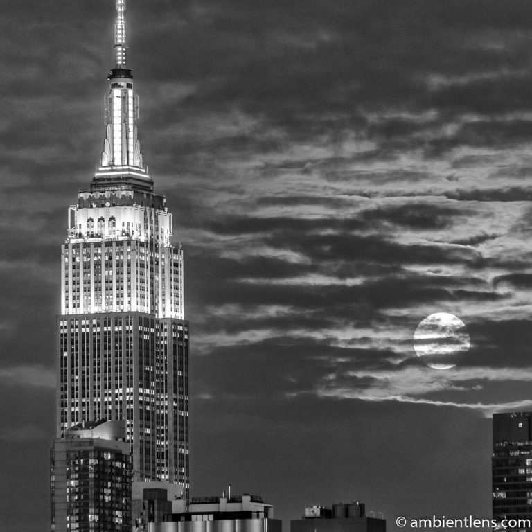 Moonrise over Manhattan, New York 6 (BW SQ)