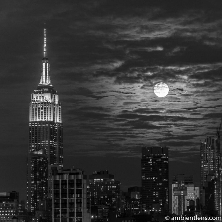 Moonrise over Manhattan, New York 3 (BW SQ)