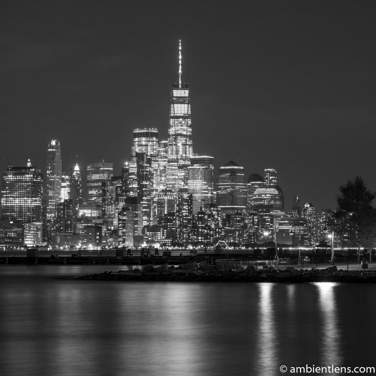 Lower Manhattan and Hoboken at Night 1 (BW SQ)