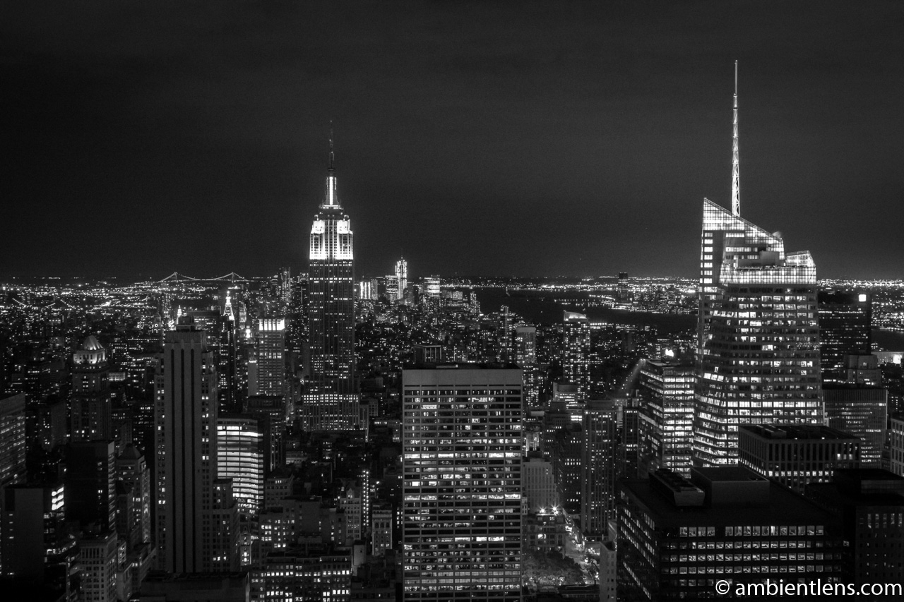 New York City Buildings at Night 1 (BW)