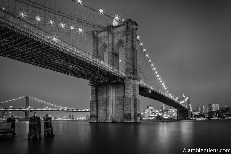Brooklyn Bridge in Blue Light 1 (BW)
