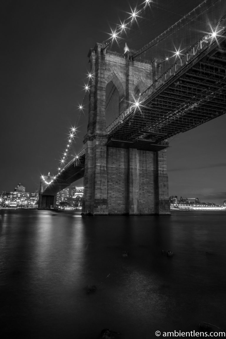 Brooklyn Bridge in Blue Light 5 (BW)