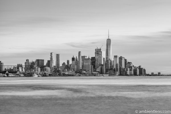 Lower Manhattan and the Hudson River at Sunset 1 (BW)