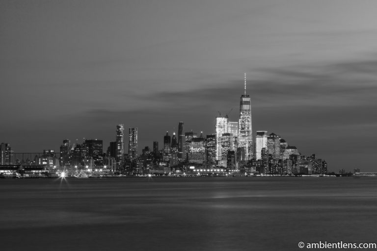 Lower Manhattan and the Hudson River at Sunset 2 (BW)