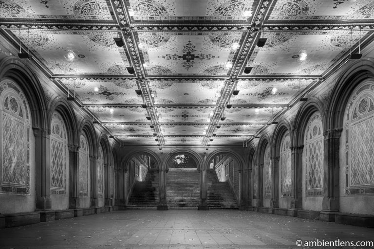 The Interior of Central Park's Bethesda Terrace 2 (BW)