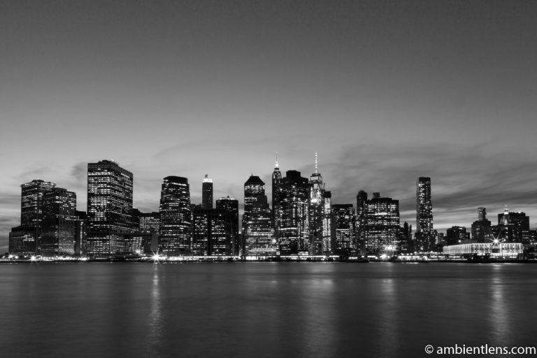 Lower Manhattan and the East River after Sunset 1 (BW)