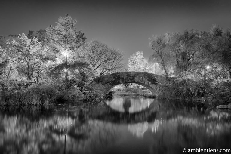 Central Park's Gapstow Bridge at Night 3 (BW)